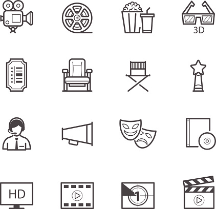 Vector Design Of Movie Icons On A White Background Stock