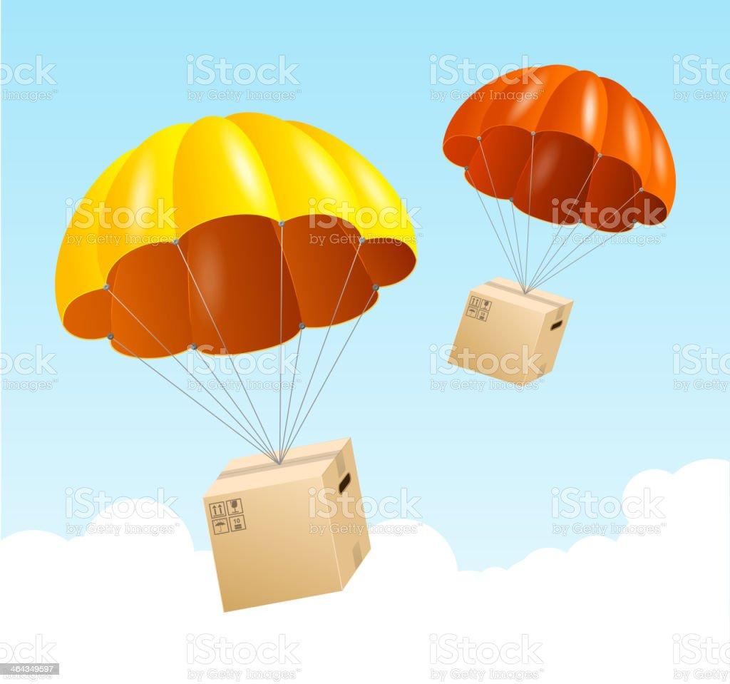 Vector design of parachutes delivering packages vector art illustration