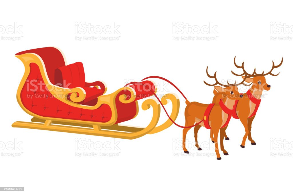 Vector Design Of Santa Sleigh With Reindeer Stock Illustration Download Image Now Istock