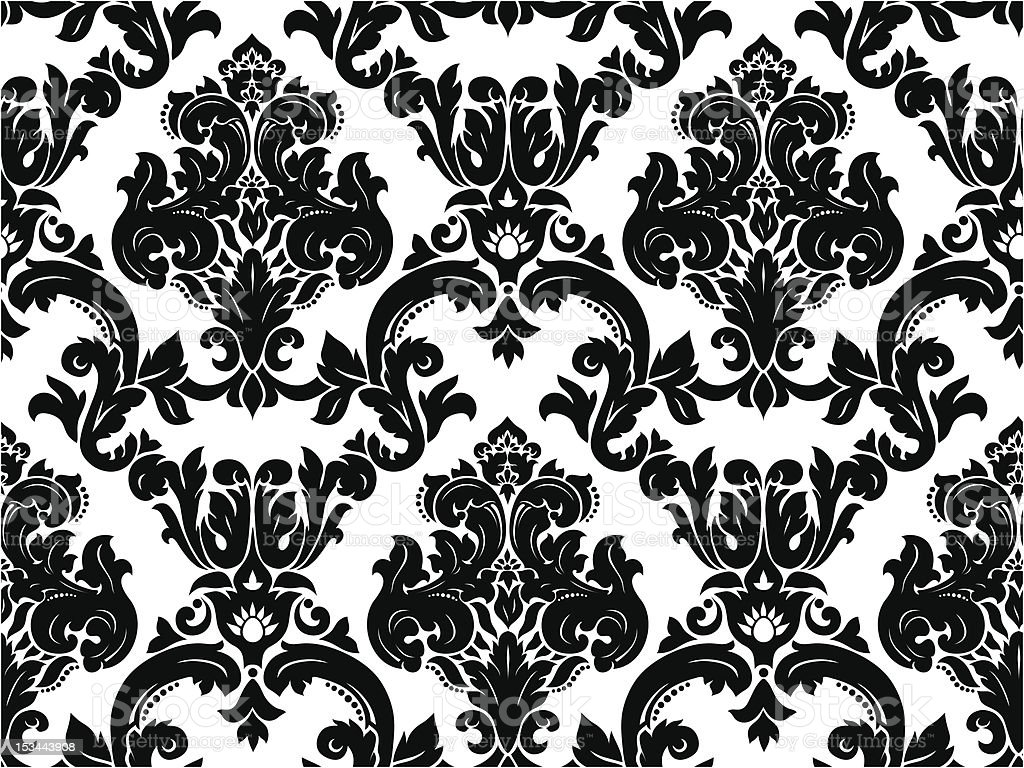 Line Art Vector Design : Vector design of seamless black and white damask pattern stock