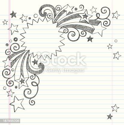 Vector design of starburst frame notebook drawing