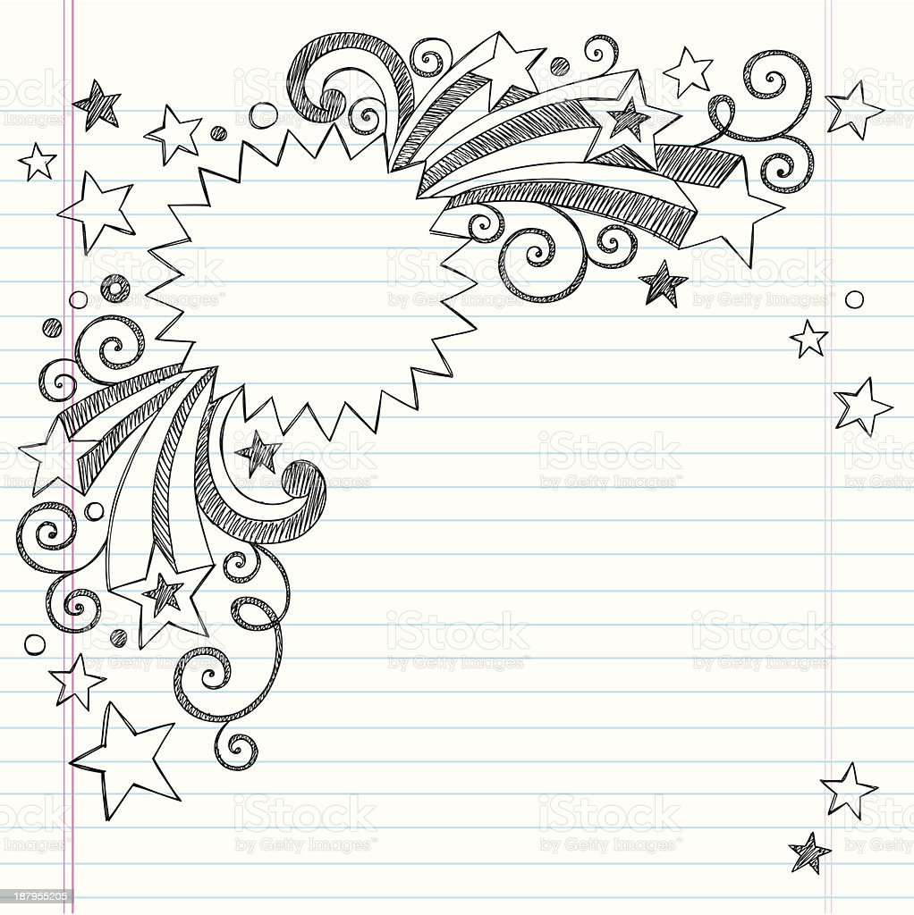 Vector design of starburst frame notebook drawing vector art illustration