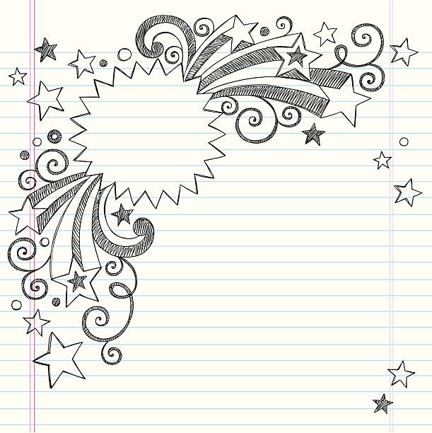 Vector design of starburst frame notebook drawing Starburst Picture Frame Border with Shooting Stars- Back to School Style Hand-Drawn Sketchy Notebook (Sketchbook) Doodles Vector Illustration. Design Element on Lined Paper Background. Illustrator AI file also included. I ♥ Doodles! school supplies border stock illustrations