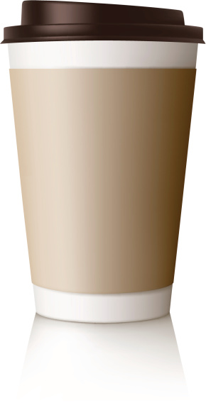 Vector design of takeaway coffee cup with lid