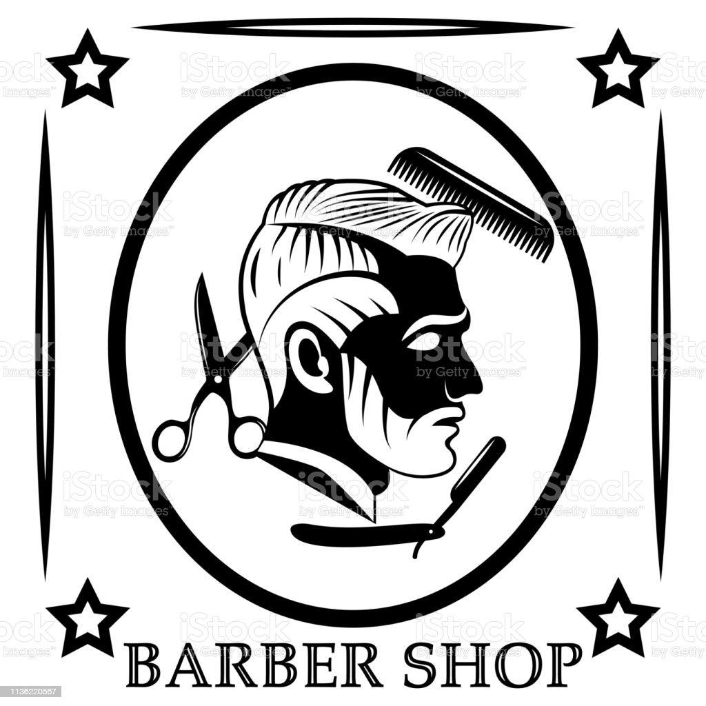 Projeto do vetor do logotipo do barbearia. Plano, monocromático, imagem de um perfil de um homem barbudo com um penteado delicioso. Ferramentas de cabeleireiro-tesoura, pente e navalha perigosa. - ilustração de arte em vetor