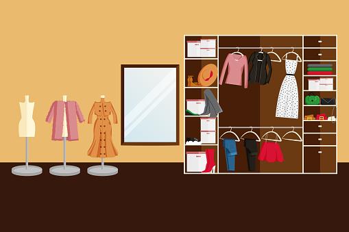 Vector Design of Wardrobe Room in Flat Style