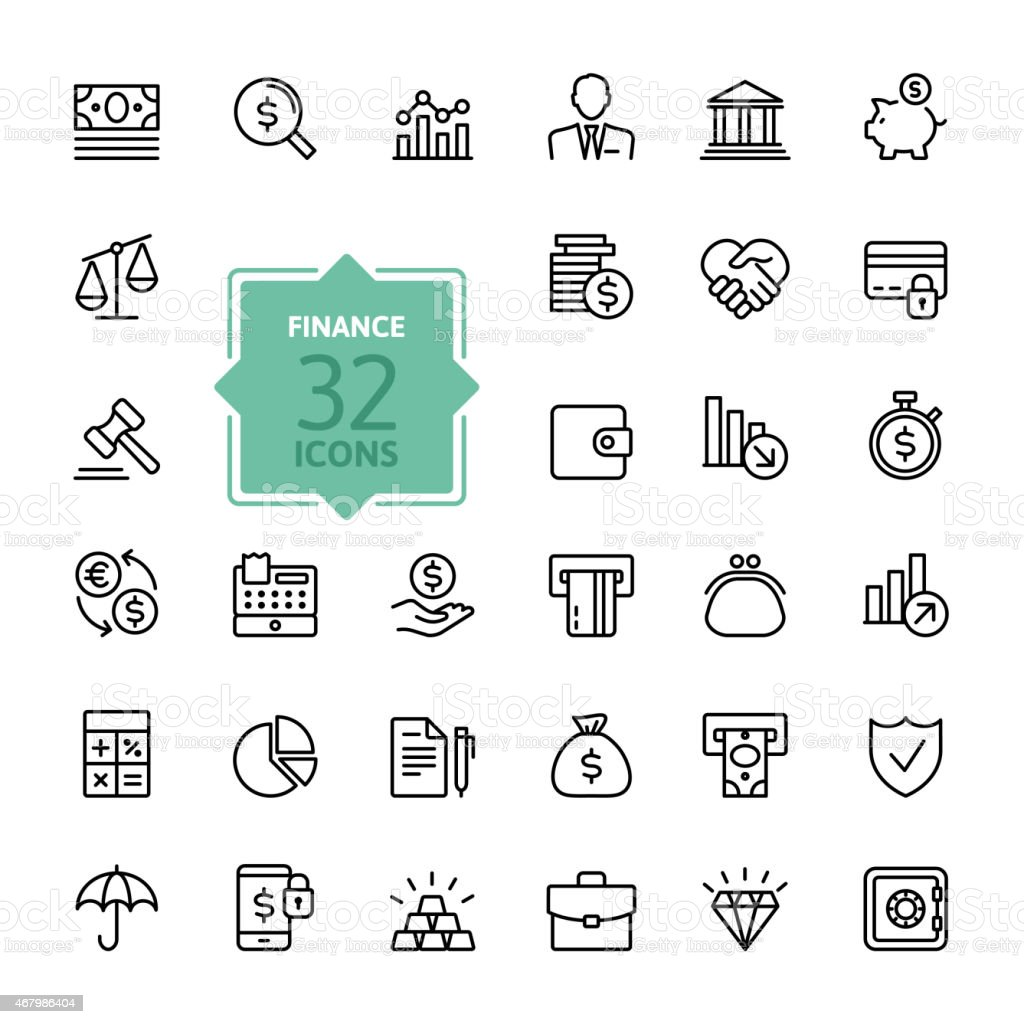 Vector design of web icons relating to money and finance vector art illustration