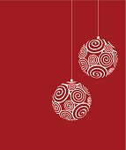 christmas balls silhouette in retro style and curly motifs