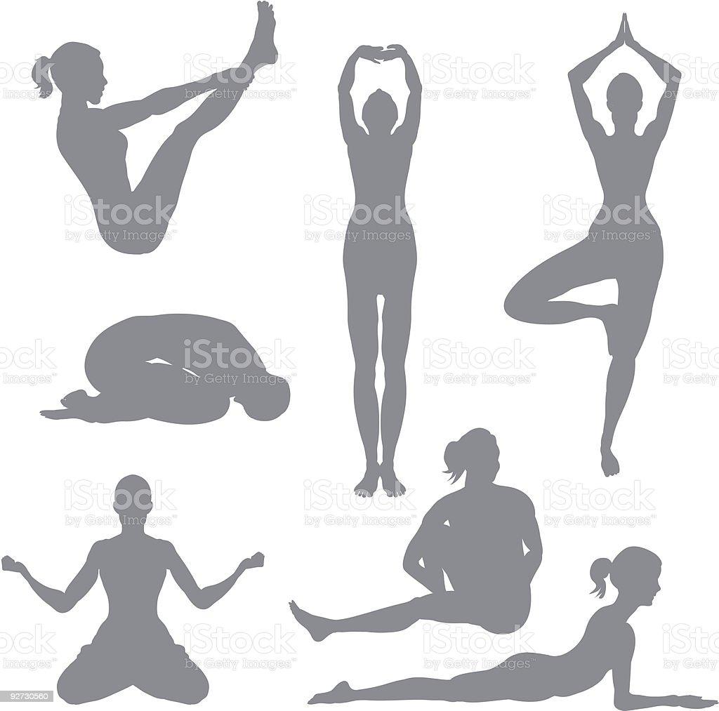 Vector design of women doing yoga poses royalty-free stock vector art