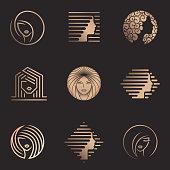 Vector design set for beauty salon, hair salon, cosmetic. Beauty icons