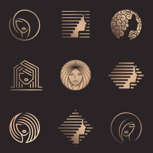 Vector design set for beauty salon, hair salon, cosmetic. Beauty icons Vector design set for beauty salon, hair salon, cosmetic beauty salon stock illustrations