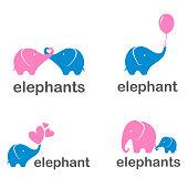 Vector design set  icons of elephants