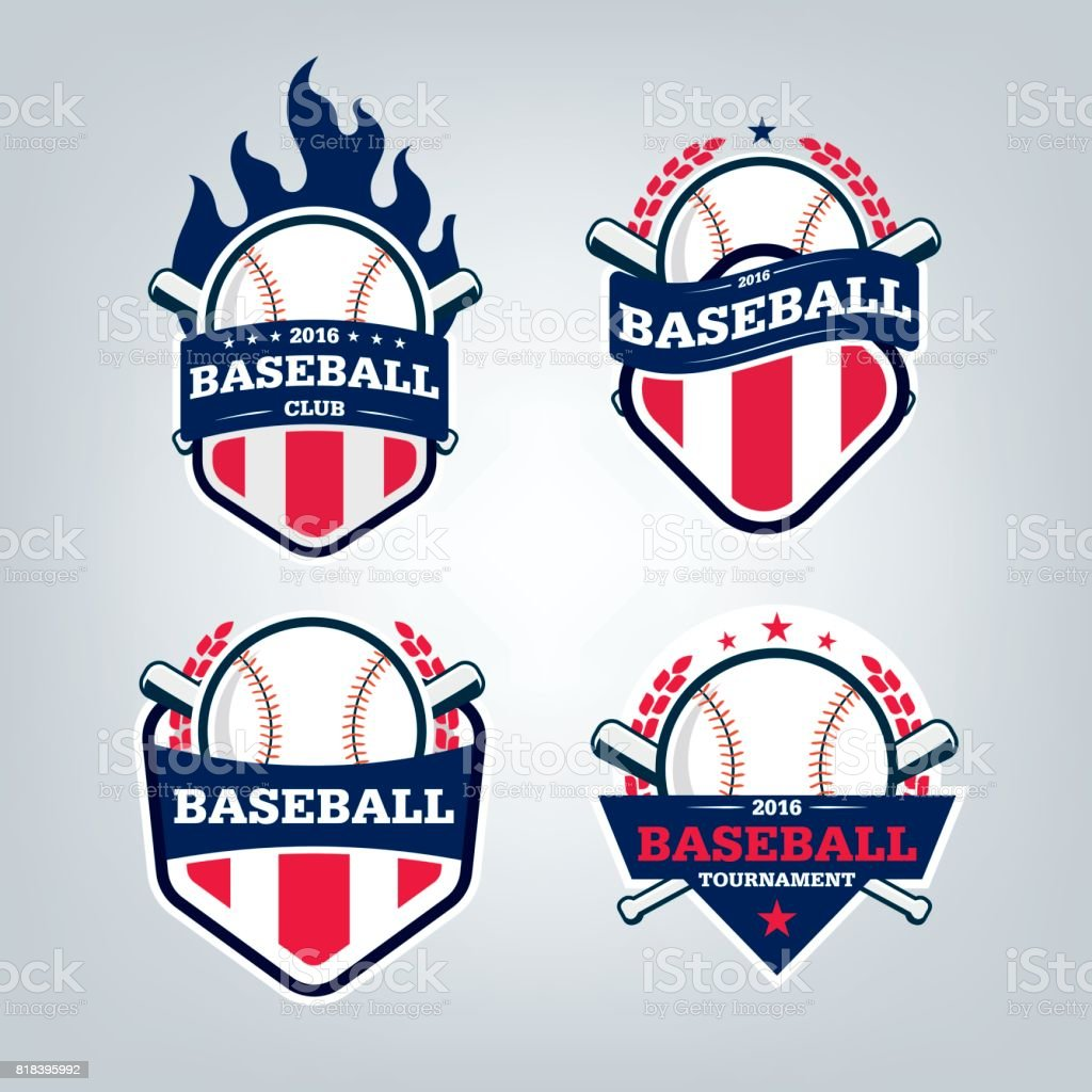 Vektor-Design-set Baseball-Sport-Team-symbol – Vektorgrafik