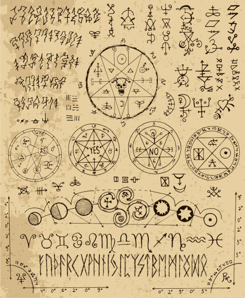 Vector design set with magic letters, pentacle, runes, zodiac, seals vector art illustration