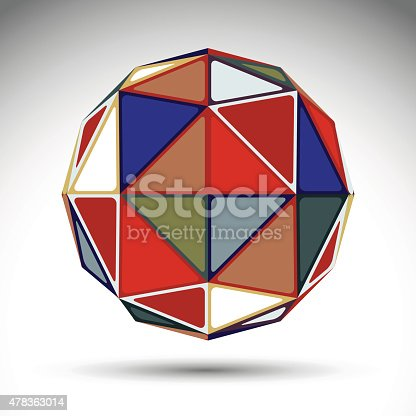 Vector design spherical object with kaleidoscope effect, dimensional modern geometric element isolated on white background. Stylish orb constructed from bright rectangular triangles.