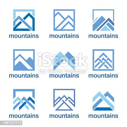 Vector design template. Abstract mountains icon set.