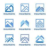 Vector design template. Abstract mountains icon set.