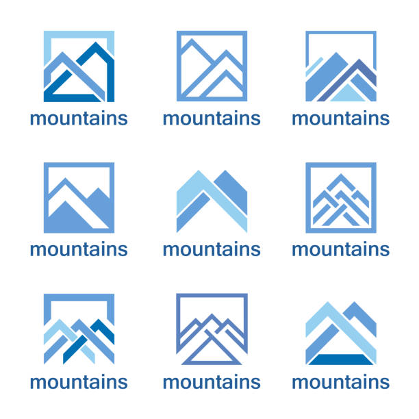 Vector design template. Abstract mountains icon set. Vector design template. Abstract mountains icon set. mountain peak stock illustrations