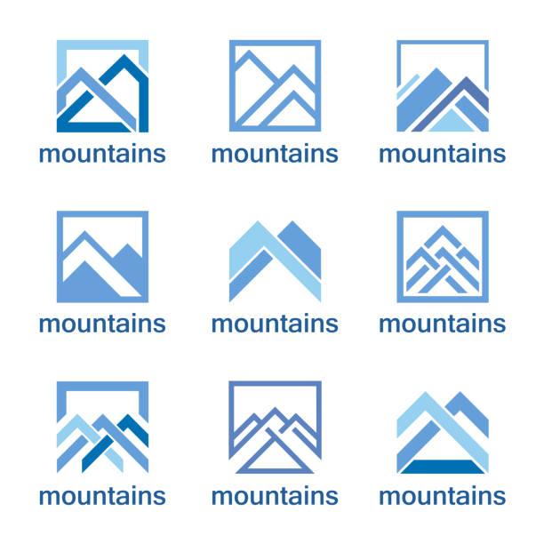 vector design template. abstract mountains icon set. - mountain top stock illustrations