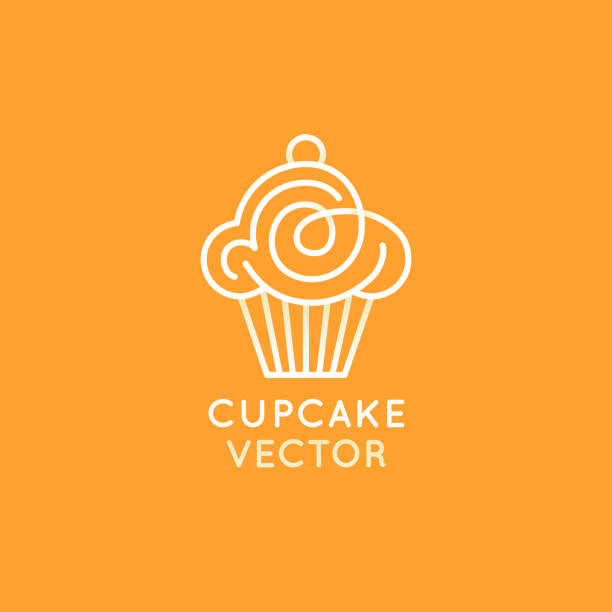 vector design template and insignia in flat linear style - sweet cupcake - cupcake stock illustrations, clip art, cartoons, & icons