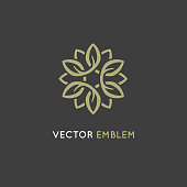Vector design template and emblem made with infinite lines - luxury beauty spa concept - badge for yoga studios, holistic medicine centers, natural and organic food products and packaging