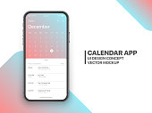 Calendar App Concept December 2020 Page with To Do List and Tasks UI UX Design Mockup Vector on Frameless Smartphone Iphone 11 Screen Isolated on White Background. Planner Application Template for Mobile Phone
