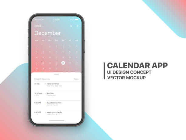 Vector Design Template Calendar App UI UX Concept Calendar App Concept December 2020 Page with To Do List and Tasks UI UX Design Mockup Vector on Frameless Smartphone Iphone 11 Screen Isolated on White Background. Planner Application Template for Mobile Phone cyborg stock illustrations