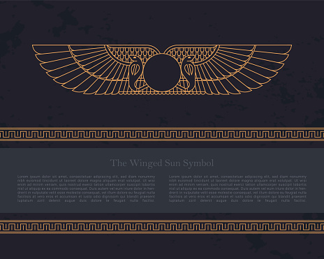 Vector design template Egyptian fertility goddess Isis isolated on the hand-drawn background from Egyptian pyramids, a symbol of femininity and marital fidelity