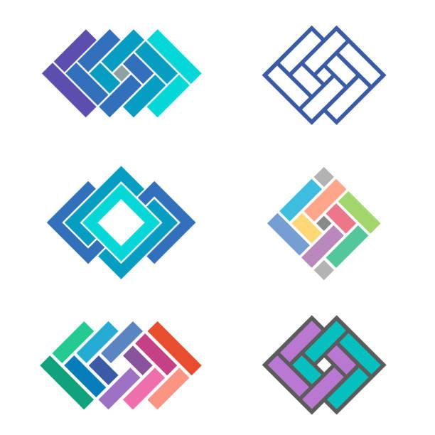 stockillustraties, clipart, cartoons en iconen met vector de ontwerpelementen van het sjabloon voor tegel bedrijf - mozaïek