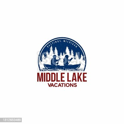 istock Vector design template for a canoe tour on the lake. 1312653485