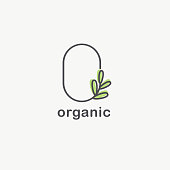 Vector design template for organic and natural cosmetics. Healthy lifestyle and vegan sign. Letter O