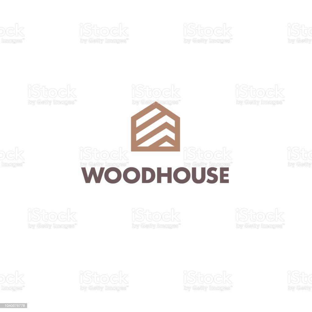 Vector design template for parquet, laminate, flooring. Wood house icon vector art illustration