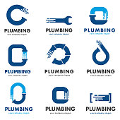 Vector design template for plumbing company. Icon set