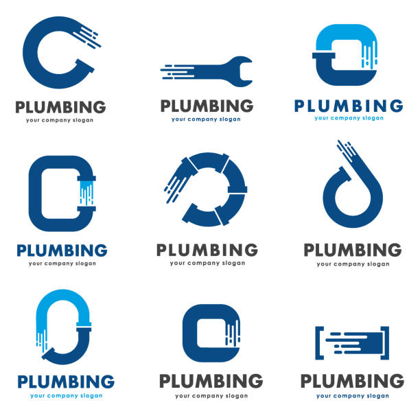vector design template for plumbing company. icon set - plumber stock illustrations, clip art, cartoons, & icons