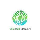Vector  design template - healthy and natural life concept - human figure with green leaves
