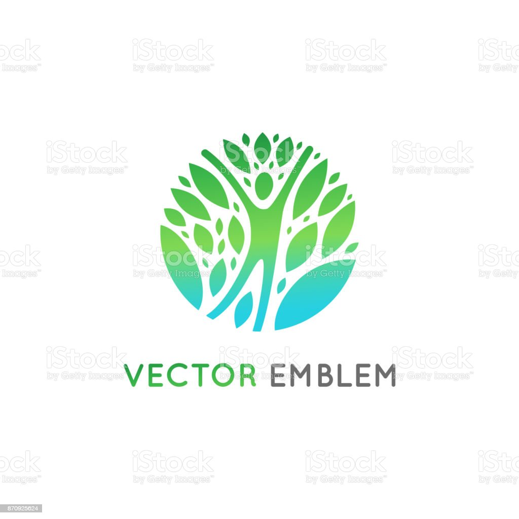 Vector  design template - healthy and natural life vector art illustration