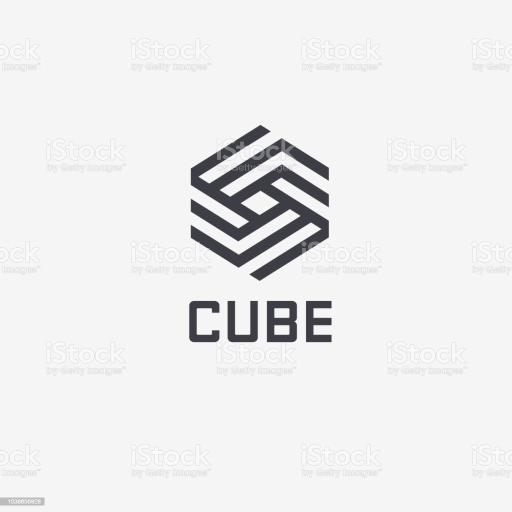 Vector design template hexagon design. Cube sign vector art illustration