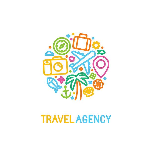 ベクトルデザインテンプレートのトレンディーな線形のスタイル - 旅行代理店点のイラスト素材/クリップアート素材/マンガ素材/アイコン素材