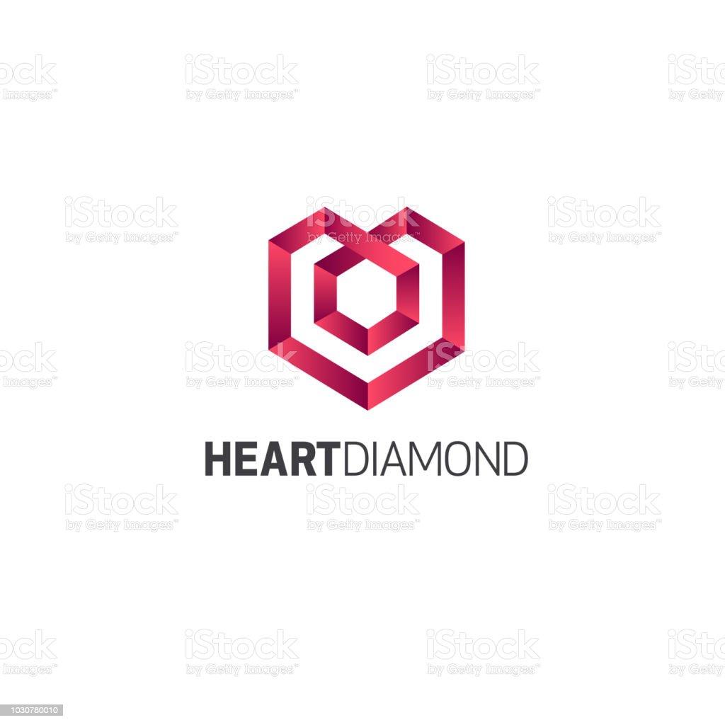 Vector design template. Jewelry sign. Heart Diamond vector art illustration