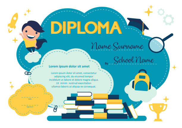 Vector design template kids colorful diploma at graduation vector art illustration