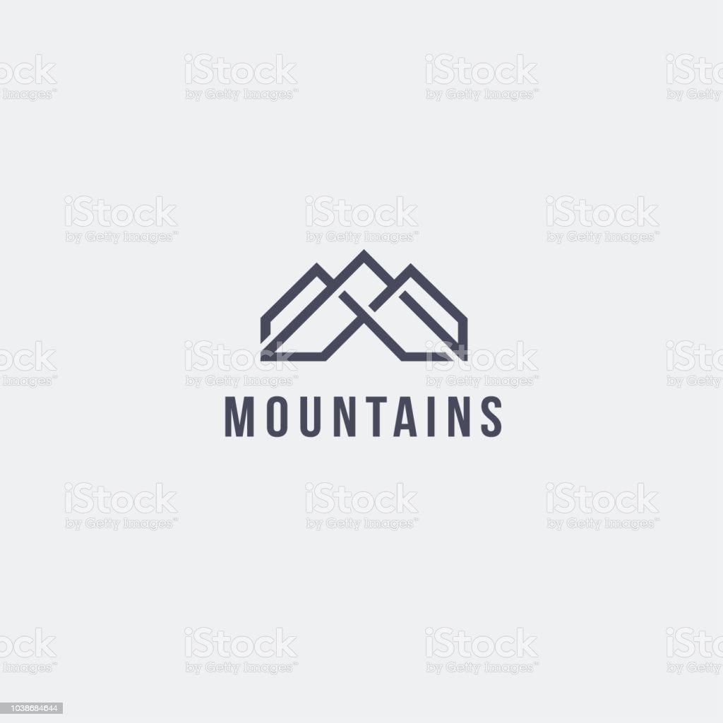 Vector design template. Mountains emblem concept vector art illustration
