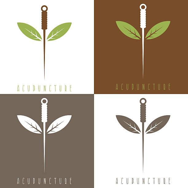 bildbanksillustrationer, clip art samt tecknat material och ikoner med vector design template of acupuncture needle and leaves - acupuncture