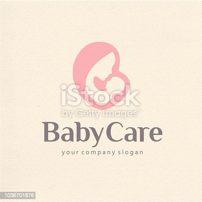 Vector design template of child care, motherhood and childbearing