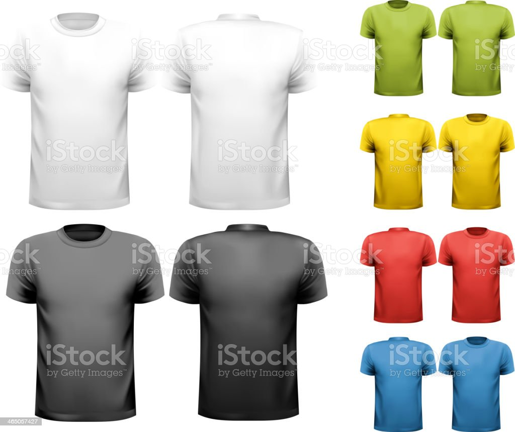 Vector design template of solid colors male t-shirts vector art illustration