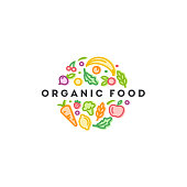 Vector  design template. Organic food sign.