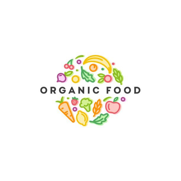 ilustrações de stock, clip art, desenhos animados e ícones de vector  design template. organic food sign. - vegetables