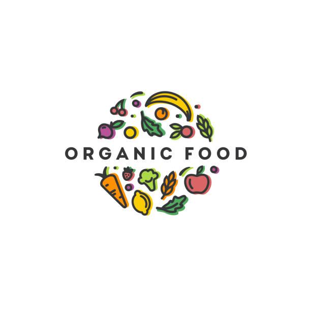 ilustrações, clipart, desenhos animados e ícones de molde do projeto do vetor. sinal orgânico do alimento. - healthy food