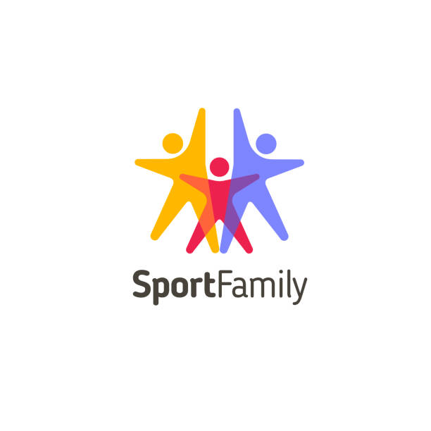 stockillustraties, clipart, cartoons en iconen met vector ontwerpsjabloon. sport familie pictogram - activiteit bewegen