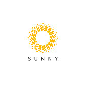 Vector design template. Sun dots icon sign.