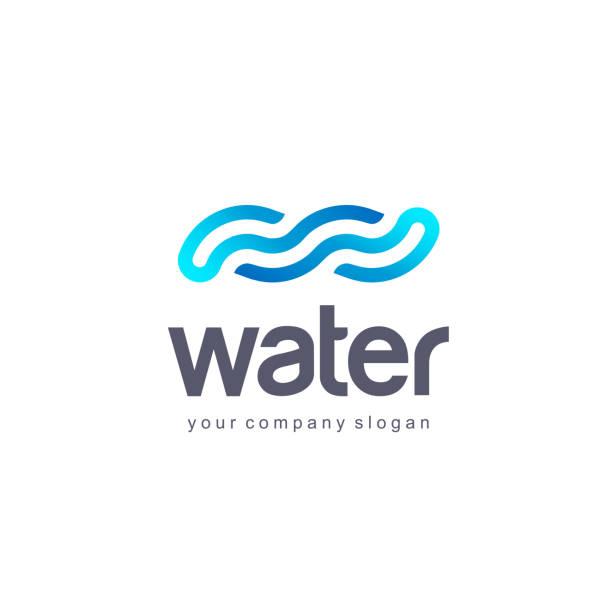 illustrazioni stock, clip art, cartoni animati e icone di tendenza di vector design template. water wave icon. clean water. - nuoto mare